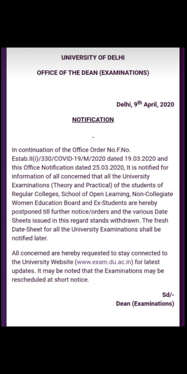 DU postponed written and practical examinations due to Coronavirus, know in detail